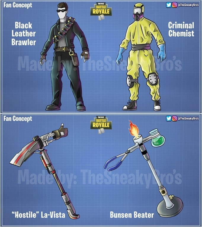 next up we have more fortnite skin concepts from sneakyparagon this time we have designs based on pop culture characters - next skin for fortnite