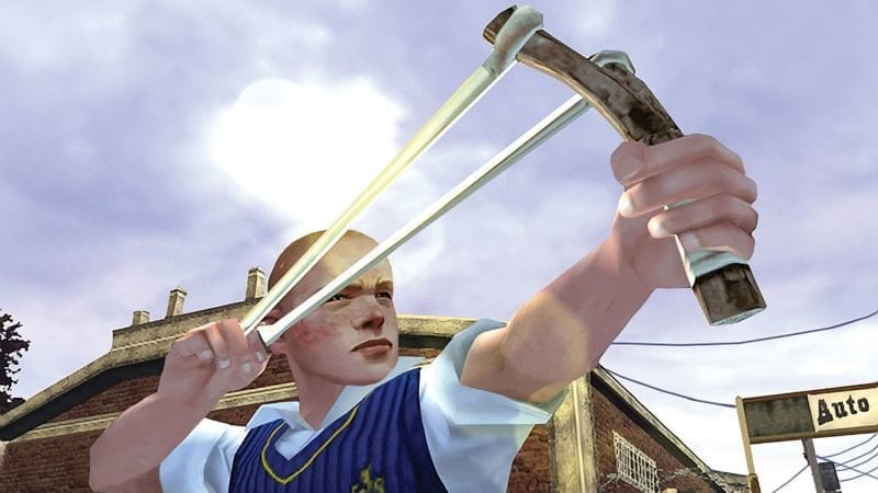 Jimmy with a slingshot in Bully game