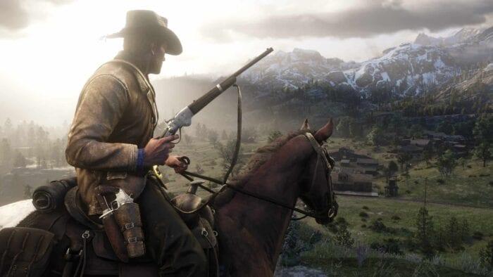 Arthur on a horse in RDR2
