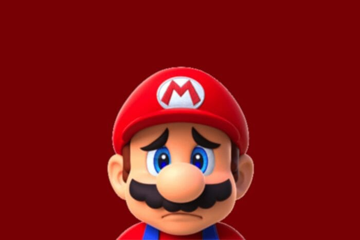 Mario looking sad