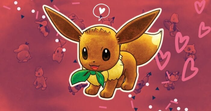 Eevee in Pokemon Rescue Team DX against a pink background