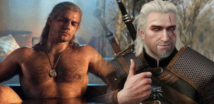 Geralt from Netflix next to Geralt from game