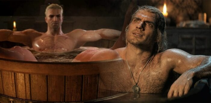 Bathtub scene from the witcher game next to same scene from netflix show