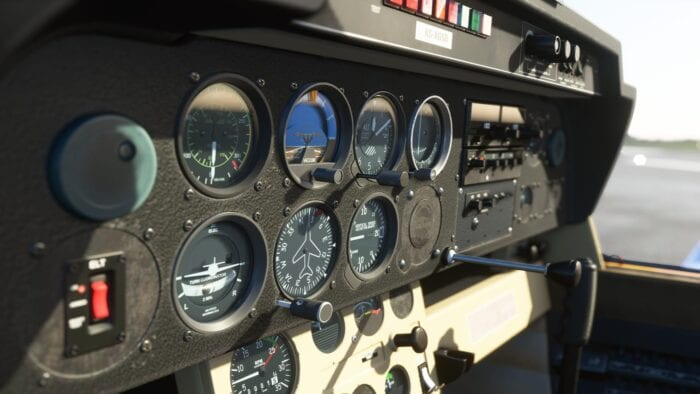 Dashboard of a plane in Flight Simulator