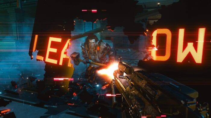 A Cyberpunk boss wielding a weapon