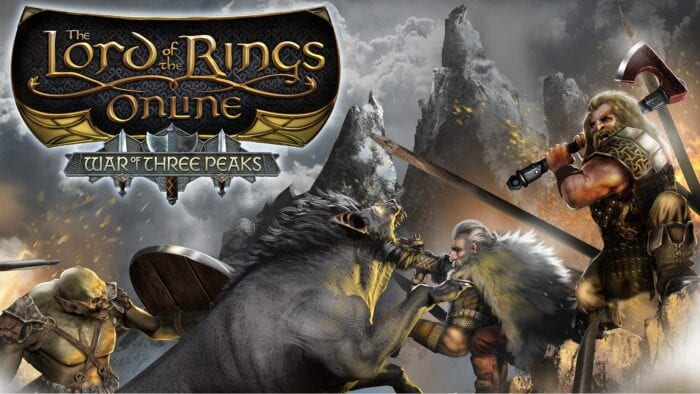 Key art for Lord of the Rings Online featuring a dwarf in battle