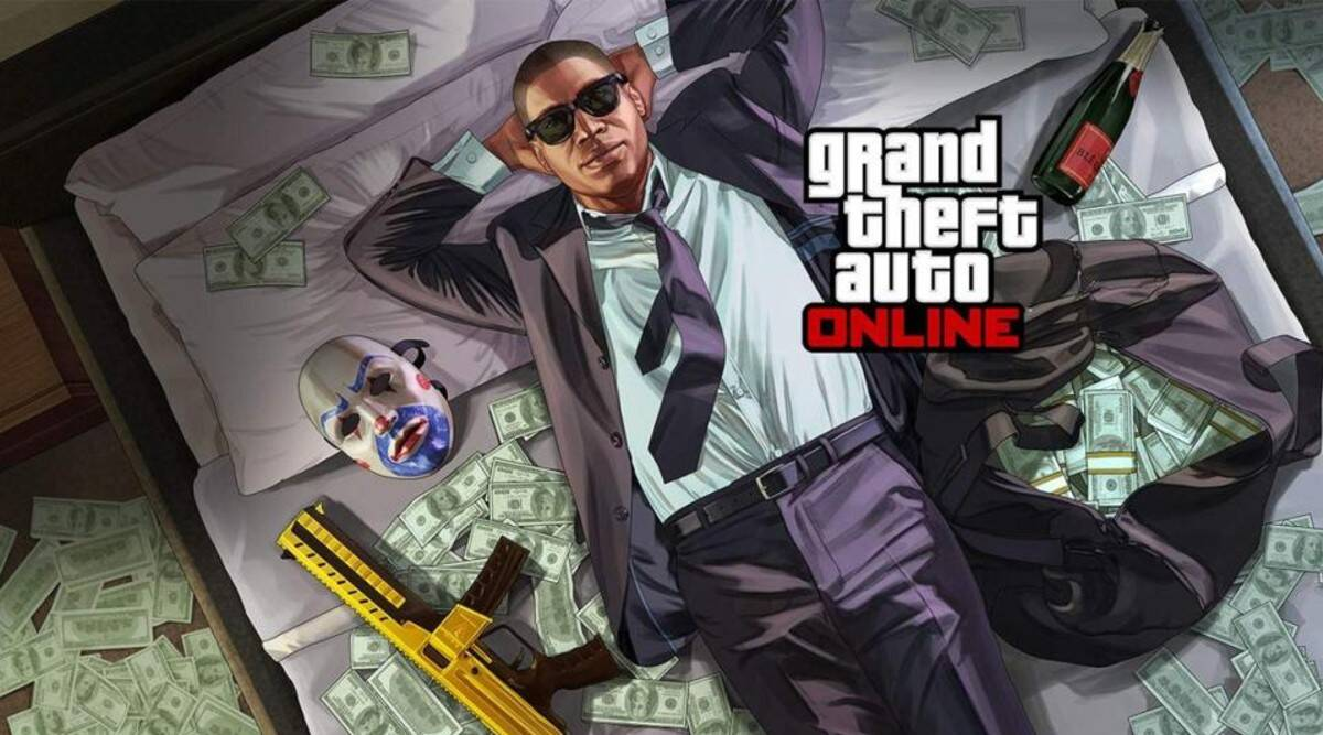GTA character on a bed of cash