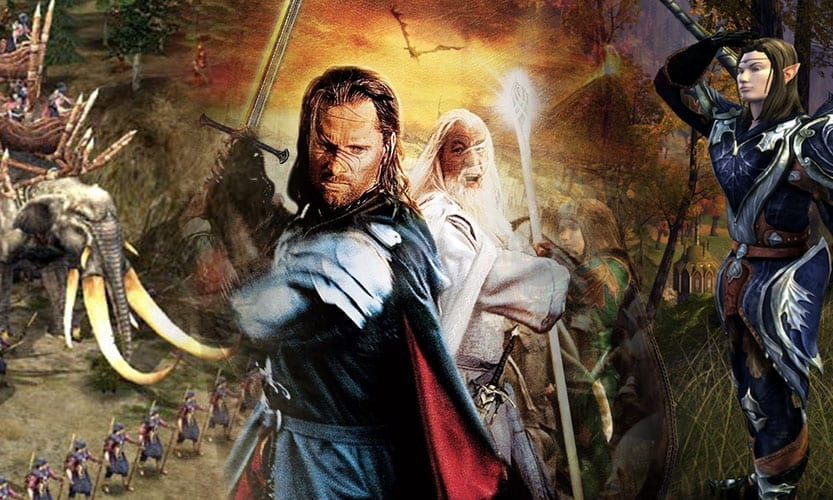 blended image of three lord of the rings games