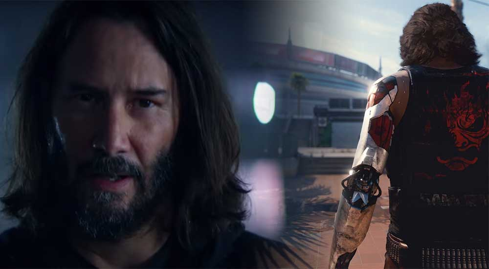 Keanu reeves actor alongside his in-game character from Cyberpunk 2077