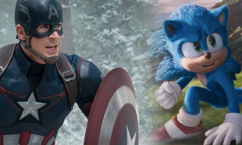 Two images of Captain America running and sonic the hedghog looking to the side