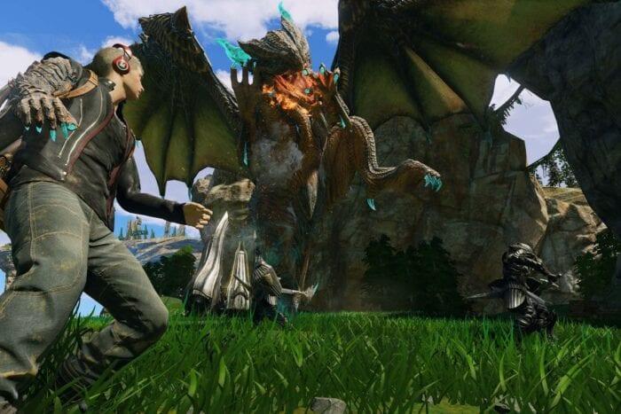 Screenshot of battle in scalebound