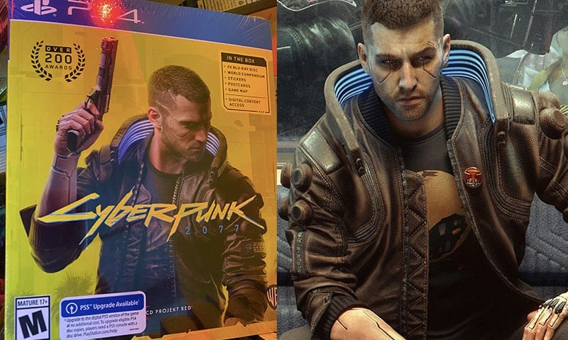 Box art for cyberpunk next to character V