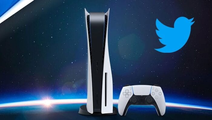 PS5 console with Twitter logo next to it