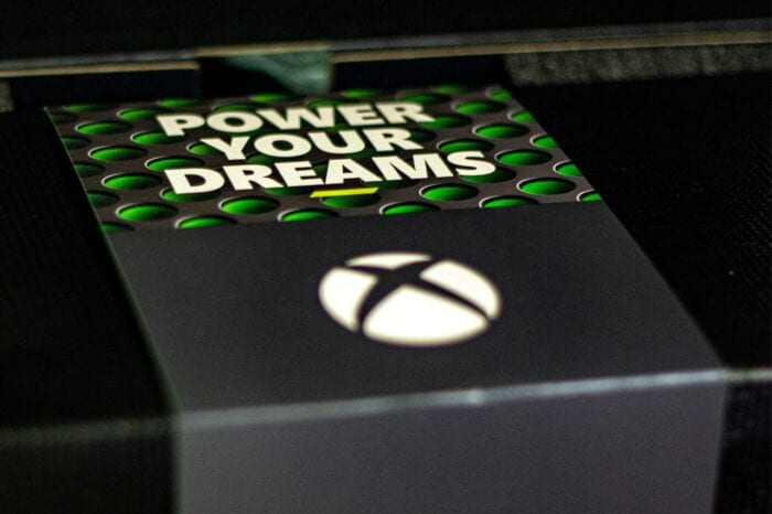 A close-up image of the Xbox Series X in its packaging.
