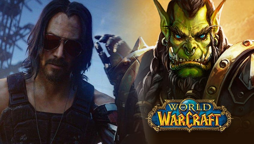 Cyberpunk character next to World of Warcraft character