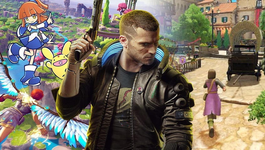 Blended image of game characters from games out this month