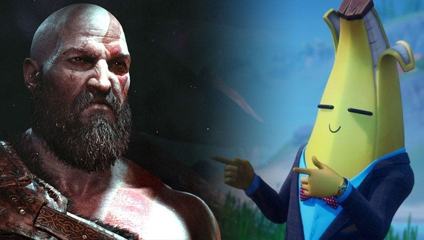 Kratos next to banana from Fortnite