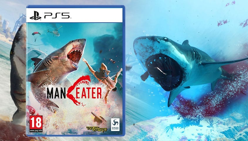 maneater screenshot with ps5 box art