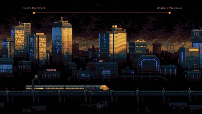 a train crosses an urban landscape