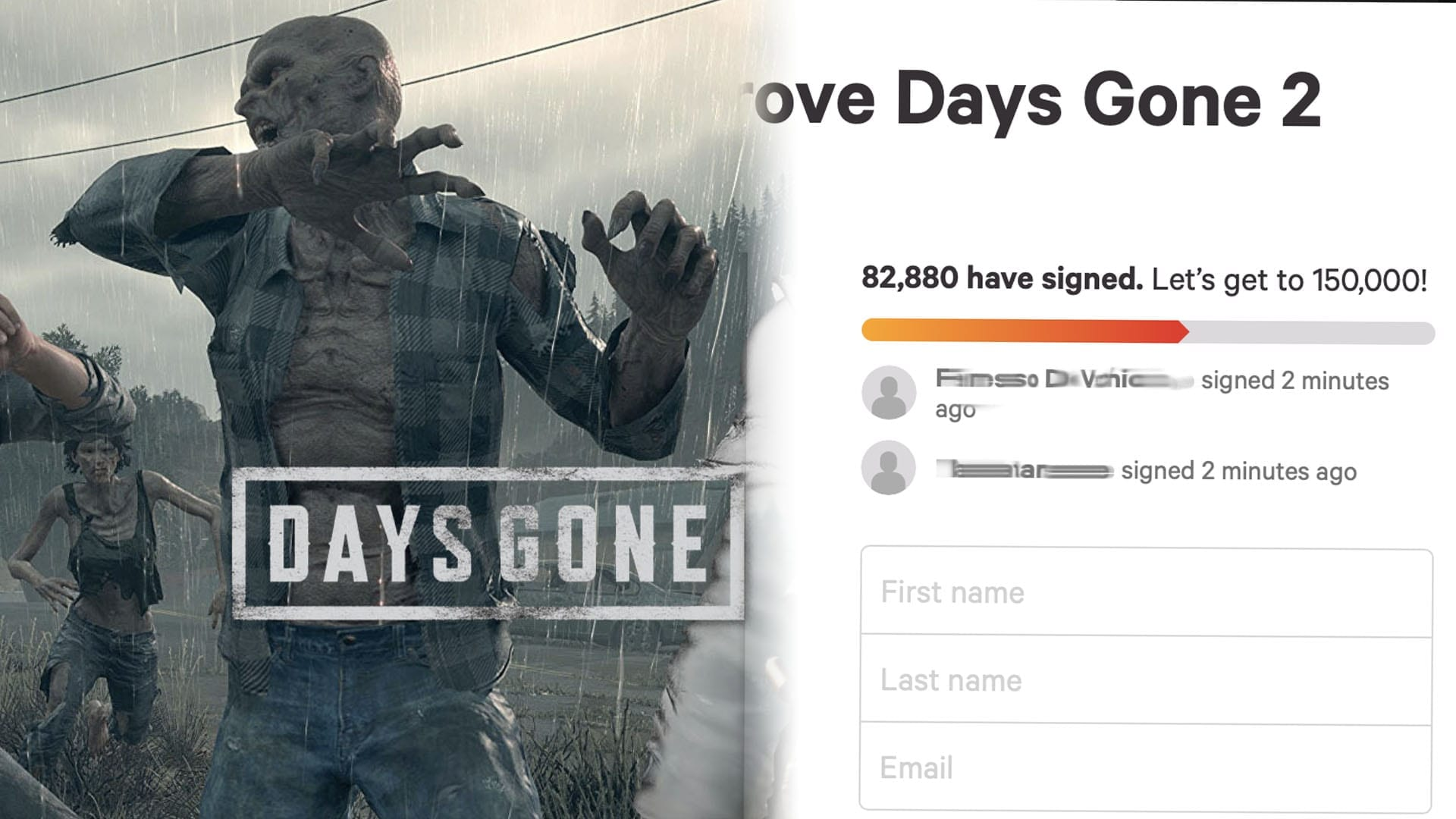 Days Gone 2 Petition Receives Over 82,000 signatures