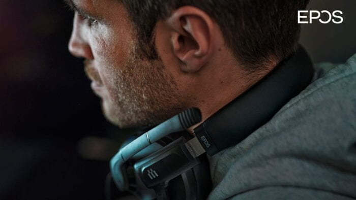 An image showing off the EPOS H3 headset around the neck