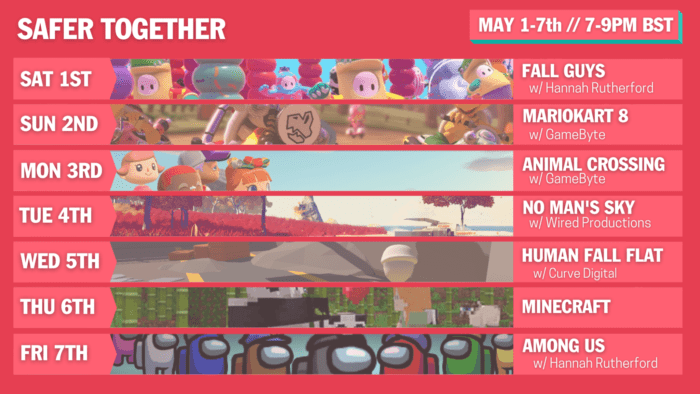 The schedule for the Safer Together streaming week